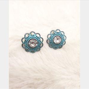 Blue Metal Stud Earrings
